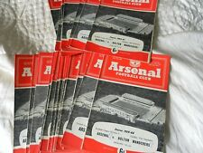 ARSENAL HOME PROGRAMMES 1959 - 61 - INC FA CUP FRIENDLYS REP GAMES