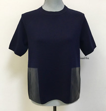 J. Crew Merino Wool Leather-Pocket T-Shirt Sweater NWT Size: XS Color: Dark Navy