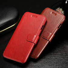 Genuine Leather Flip Wallet Case Protective Cover Card For Apple iPhone 7 7 Plus