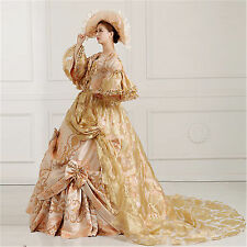 Women's Victorian Medieval Renaissance Costume Fancy Dress Antoinette Ball Gown