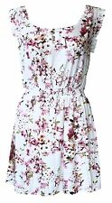 Ex Oasis White Pink Floral Printed Summer Tunic Mini Dress Size 8 10 12 14 16
