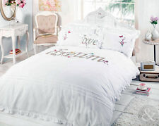 Shabby Chic Duvet Cover - Luxury Embroidered Applique White Bedding Bed Set