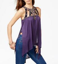 NEW Free People Vision Quest Embellished Tunic Beaded Purple Tank Party Sz XS