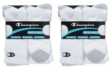 12 Pairs Champion Mens Crew Socks Double Dry- White or Black Fits Shoe Size 6-12