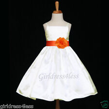 IVORY/ORANGE SPAGHETTI STRAPS SATIN FLOWER GIRL DRESS 12M 18M 2 3/4 5/6 8 10 12