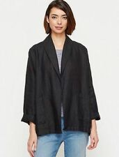 NWT $258 Eileen Fisher Icons Black Heavy Linen Shaw Collar Jacket  S M XL