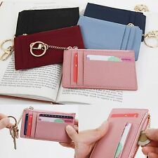 Small Slim Genuine Leather Card Holder Wallet Zip Coin Purse Key Ring Chain New