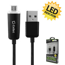 Cellet White LED Micro USB Charging Data Charger Cable Black For SmartPhones