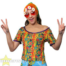 LADIES GROOVY HIPPIE HIPPY TOP PSYCHEDELIC T-SHIRT FANCY DRESS COSTUME OUTFIT