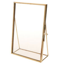 Antique Gold Brass Glass Photo Picture Frame Portrait Home Decor Freestanding
