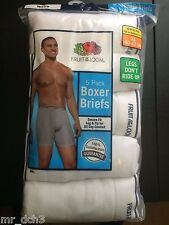 NEW 5 Pack Mens White Fruit Of The Loom Boxer Briefs Size S,M,L,XL,