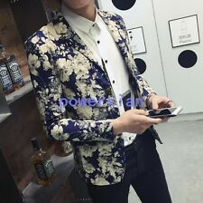 Fashion Mens Floral Slim Fit Outwear Suit Blazer Coats Jackets Tops new Casual