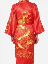 Chinese men's silk dragon embroidery bathrobe gown/robe red Sz: M L XL XXL XXXL