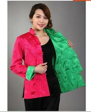 Double face Chinese women's silk jacket coat Cheongsam Sz: M L XL XXL XXXL
