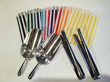 HIGH QUALITY Candy Stripe Bags, Scoops and Tongs - DIY Candy Sweet Buffet, Party