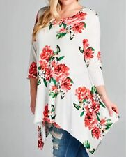 Plus Top Floral Swing 3/4 Sleeve Shark Bite Casual Spring Tunic 1X 2X 3X