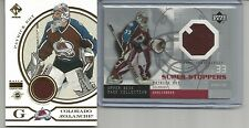 """PATRICK ROY  ( 2 ) GAME USED JERSEY CARDS """"PRIVATE STOCK & MASK""""  NICE CARDS !!"""