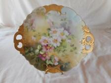 Artist Signed St Clair Hand Painted Limoges Pink Flower Gold Trim Cabinet Plate