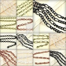 HOT 2M 6.56 feet Unfinished Chain Necklace Ball Curb Flat Cable Rollo Woven