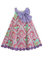 Counting Daisies Rare Editions Purple Fuchsia Turquoise Bow Dress  2T 3T 4T
