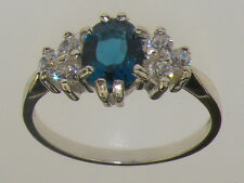 9ct White Gold Real London Blue Topaz & CZ Ladies Cluster Ring - Sizes J to Z