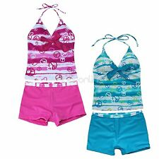 2pcs Girls Halter Floral Tankini Set Swimwear Swimsuit Bathing Suit Top&Shorts