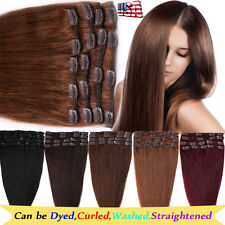 "8PCS Remy Human Hair Extensions Clip in Full Head 8/10/13/16/18/20/22/24"" BS343"