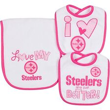 NFL Infant Girls Pittsburgh Steelers Dribbler Bibs & Burp Cloth Set, One Size