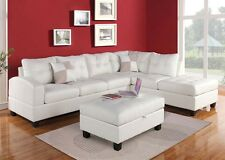 Living Room Sectional Sofa Set White Modern Bonded leather Sofa Chaise Couch New