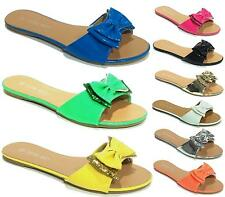 LADIES FLIP FLOPS WOMENS FLAT BOW OPEN TOE MULES SANDALS SUMMER BEACH SIZE 3-8