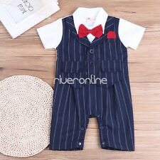 New Baby Boys Short Sleeves Gentleman Bowtie Striped One-piece Romper Jumpsuit