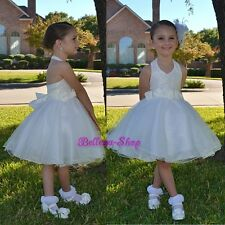 Ivory Lace Halter Tulle Dress Wedding Flower Girl Pageant Party Size 2T-9 FG283