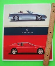 scarce 2002 MASERATI SPYDER & COUPE PRESTIGE COLOR CATALOG 60-pgs HUGE Xlnt