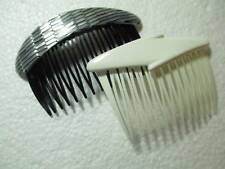 PAIR OF TWO LOT PLASTIC HAIR COMB BLACK FAUX SHELL SILVERY WHITE FRANCE GOODY