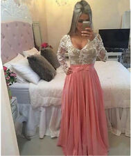 Womens Lace Bowknot Beaded Long Evening Party Ball Prom Gown Bridesmaid's Dress
