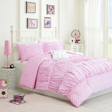 Lovely Pink & White Dots Comforter Set with Shams & Decorative Pillow