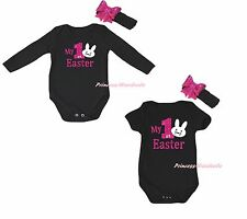 My 1ST Easter Bunny Rabbit Black Cotton Baby Girl Bodysuit Jumpsuit Outfit 0-18M