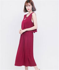 New Maternity Pregnant Maxi Dress Breastfeeding Nursing Full-length Clothing Red