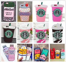 3D Food Drinks Ice-cream For iPhone Samsung Rubber Silicone Soft Back Case Cover