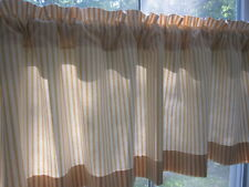 Yellow and Off White Woven Cotton Ticking Stripe HANDMADE Curtain Valance
