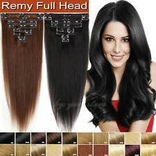 TOP 8PCS Clip In Remy Human Hair Extensions Full Head 65g-120g DIY Weft US BS352