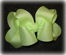 Girls hairbows Big hair bows double layer boutique bow Clean Green Headband Clip