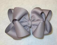 "Girls hairbows Big hair bows double layer boutique bow Silver Headband 4"" 5"""