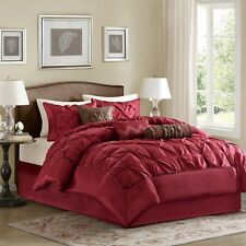 Deep Red Luxury Comforter with Pillow Shams & Bed Skirt AND Decorative Pillows