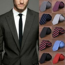 Men Casual Formal Solid Plain Striped Tie Jacquard Woven 100% Silk Slim Necktie