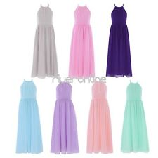 Flower Girls Neck Halter Chiffon Tulle Long Dress FORMAL Wedding Bridesmaid Gown