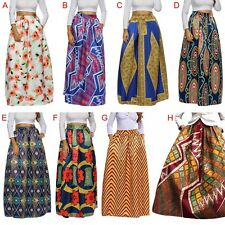 African Style Women Vintage Pleated Maxi Long Dress High Waist A Line Skirts