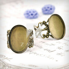 5/6pcs Flat Oval/Bow Tie Ring Mountings DIY Engagement Settings Antique Color