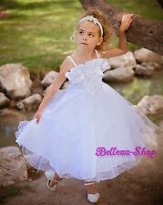 Sequin Ruffle Tulle Dress Flower Girl Wedding Pageant Party Child Sz 2T-11 FG035