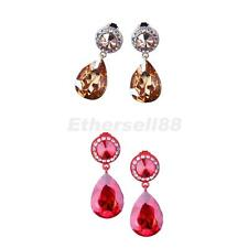 Glitter Crystal Teardrop Dangle Earrings Wedding Bridal Luxury Jewelry